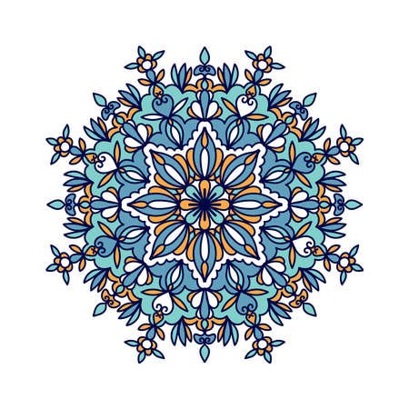 Colorful mandala doodle vector line art