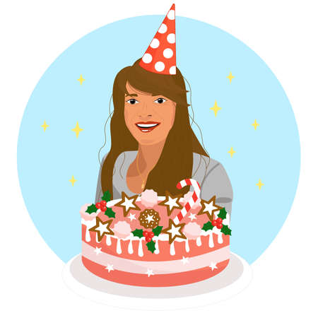 Girl with a cake celebrates a birthday. Greeting card and poster vector illustration. Big gift cake, anniversary, on a blue background Illustration