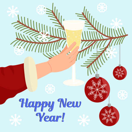 Illustration in the new year, holiday card, Christmas decorations, spruce branches, hand holding a glass. Inscription happy new year Illusztráció