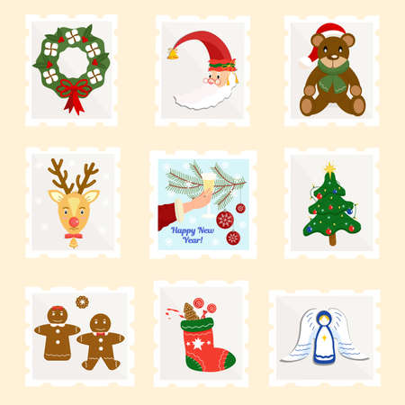 Set of Christmas postage stamps. Variety of modern vector isolated stamp designs. New Year postage stamps.