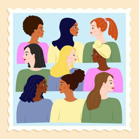 Vector illustration. Nine women of different nationalities. Female friendship. The concept of women's empowerment movement. Ilustração