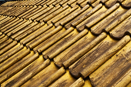 Rows of golden roof tiles photo