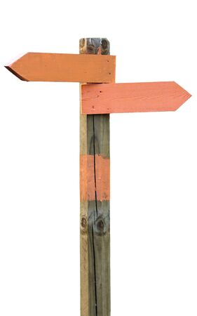 Isolated orange signposts on wooden pole photo