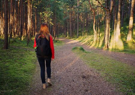 latvia girls: Woman tourist in the wood