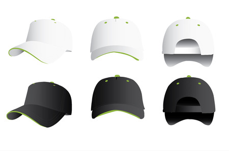 cap: Black and white baseball cap