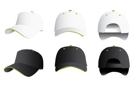 caps: Gorra de béisbol blanco y negro