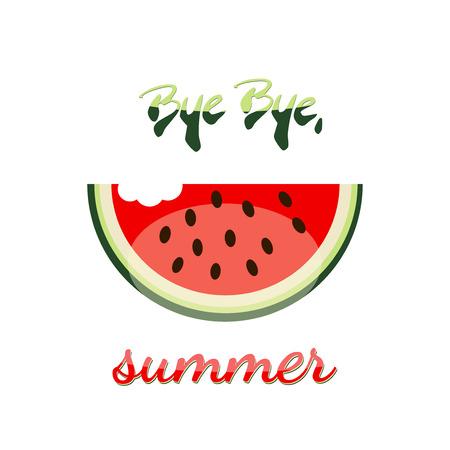 bye: Bye Bye summer watermelon vector