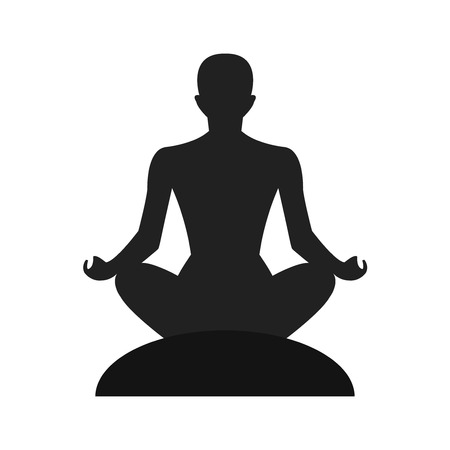 peace of mind: Meditation silhouette vector