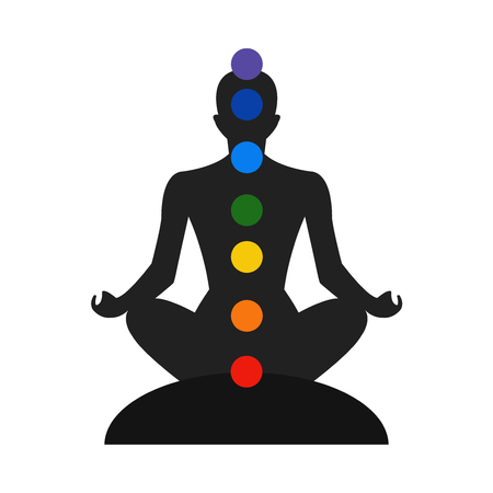 heart chakra red: Meditation silhouette with chakras