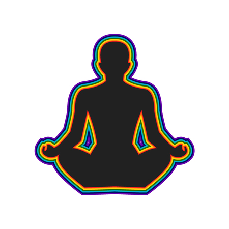 heart chakra red: Meditation silhouette with aura