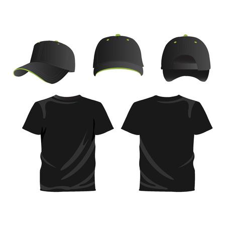 black cap: Black cap and T-shirt vector set