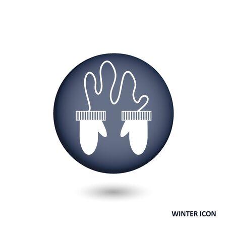mittens: Mittens button vector set Illustration