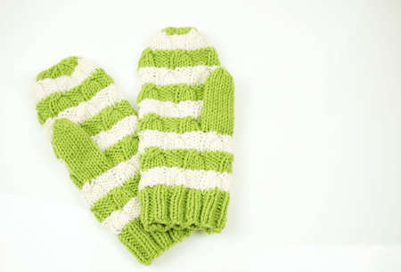 mittens: Winter mittens white with green