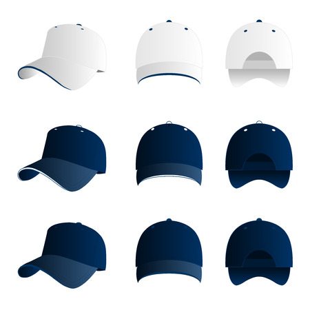 Blue baseball cap vector set