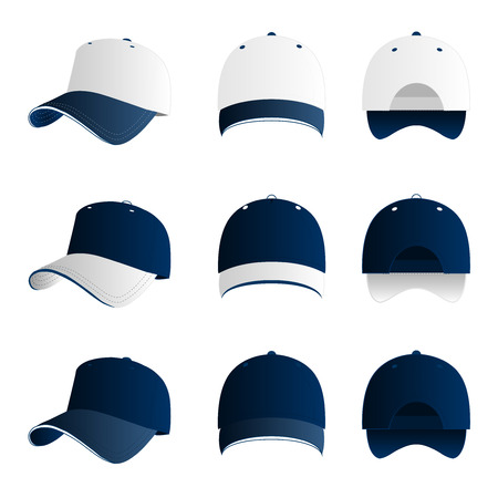 hat with visor: Blue with white baseball cap vector set