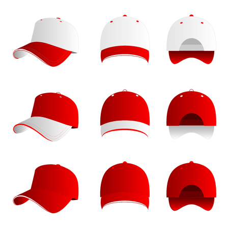baseball cap: Red and white baseball cap vector set