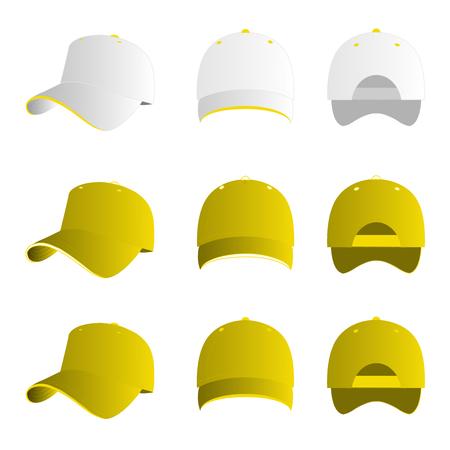 baseball cap: Yellow baseball cap vector set