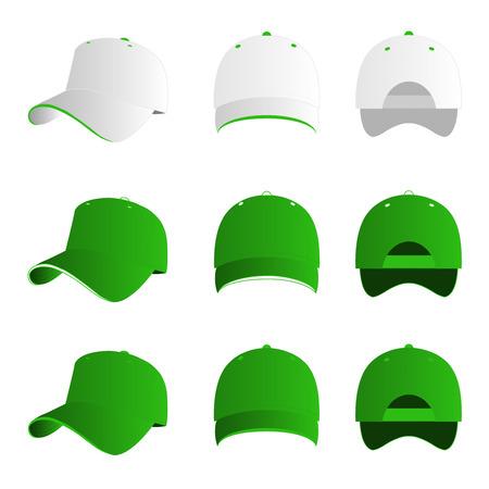 hat with visor: Green baseball cap vector set Illustration