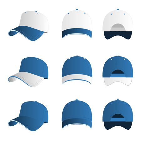 print template: Light blue with white baseball cap vector set