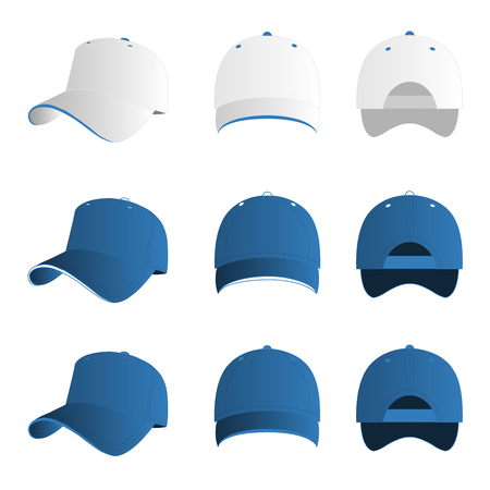 print template: Light blue baseball cap vector set