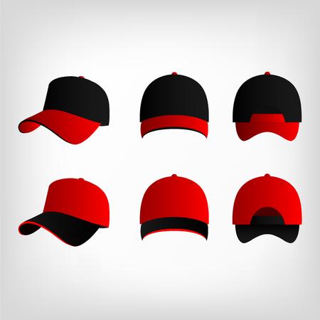 baseball caps: Red and black baseball cap vector set