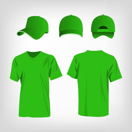 baseball cap: Sportswear light green t-shirt and light green baseball cap vector set