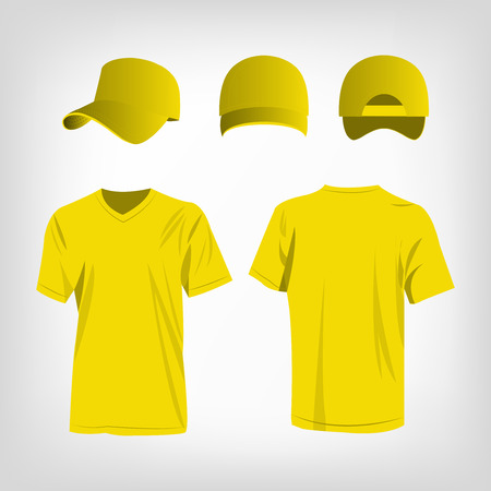 Sportswear yellow t-shirt and yellow baseball cap vector set