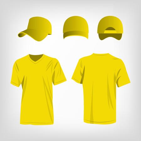 Sportswear yellow t-shirt and yellow baseball cap vector set