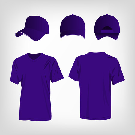 baseball cap: Sportswear violet t-shirt and violet baseball cap vector set