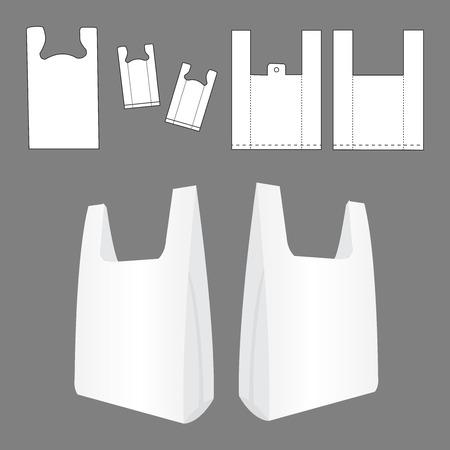envases de plástico: Bolsa de plástico camiseta Vectores
