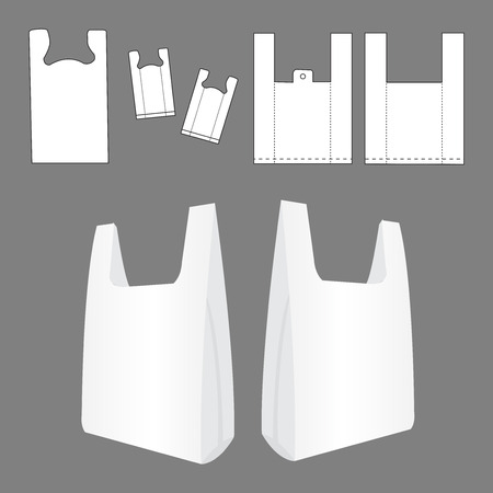 kunststoff: T-Shirt mit Plastiktüte