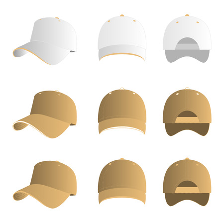 light brown: White and light brown baseball cap vector set