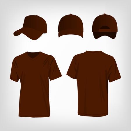 raglan: Sportswear brown t-shirt and brown baseball cap vector set