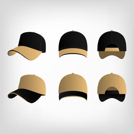 light brown: Light brown and black baseball cap vector set Illustration
