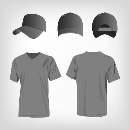baseball cap: Sportswear grey t-shirt and grey baseball cap vector set Illustration