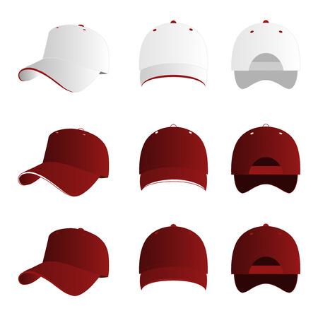 baseballs: Dark red and white baseball cap set
