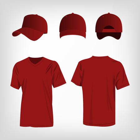 rojo oscuro: Sportswear dark red t-shirt and dark red baseball cap vector set Vectores
