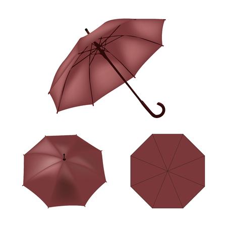 rojo oscuro: Dark red umbrella vector isolated Vectores
