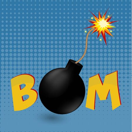 cartoon bomb: Cartoon comics vector bomb