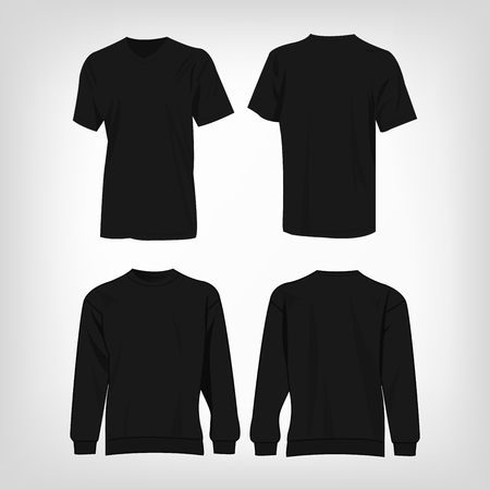 Black sport t-shirt and sweater isolated vector set