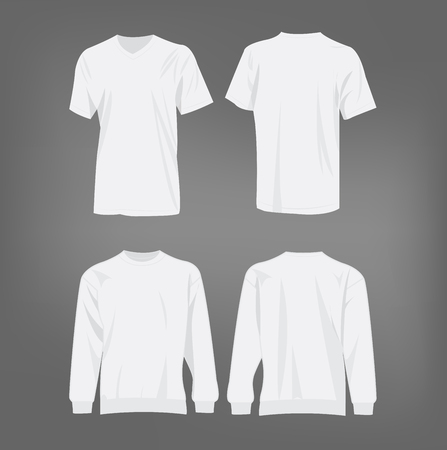 long sleeve shirt: Sport white t-shirt and sweater isolated set vector Illustration