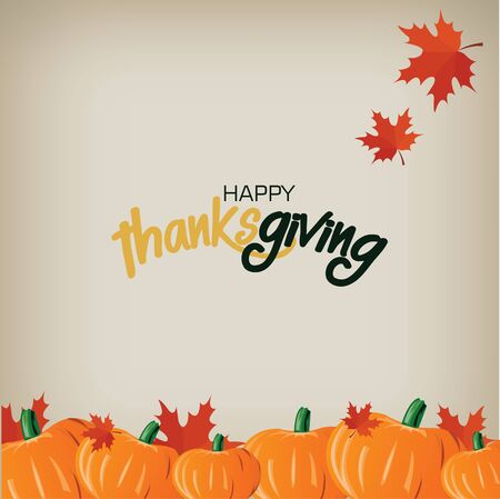 pumpkin leaves: Happy thanksgiving card vector