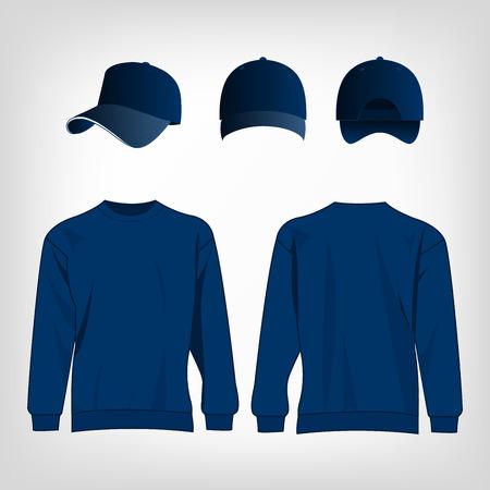 baseball caps: Sport blue sweater and baseball cap isolated set vector