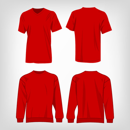 red tshirt: Sport red t-shirt and sweater isolated set vector