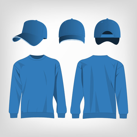 light blue: Sport light blue sweater and baseball cap isolated set vector