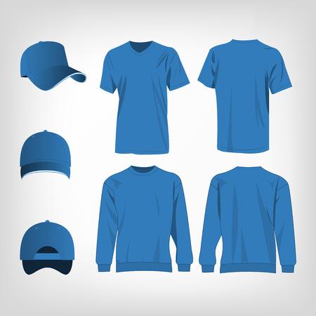 fashion set: Sport light blue t-shirt, sweater and baseball cap isolated set vector