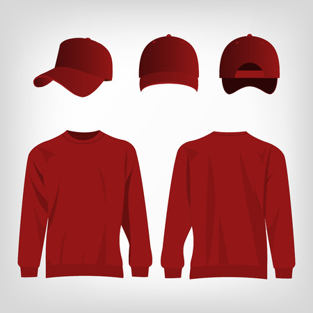 dark red: Sport dark red sweater and baseball cap isolated set vector