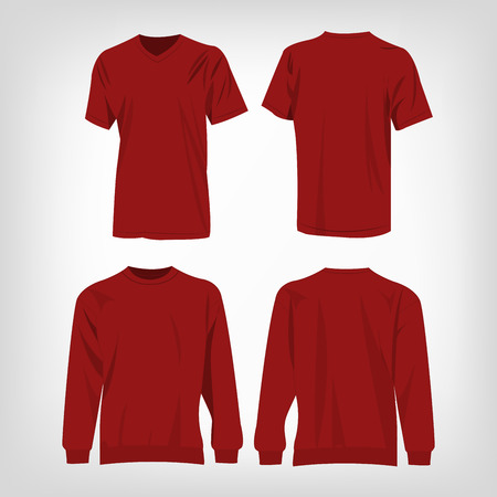 dark red: Sport dark red t-shirt and sweater isolated set