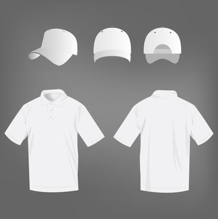 polo shirt: Sport white polo shirt and baseball cap isolated set vector Illustration