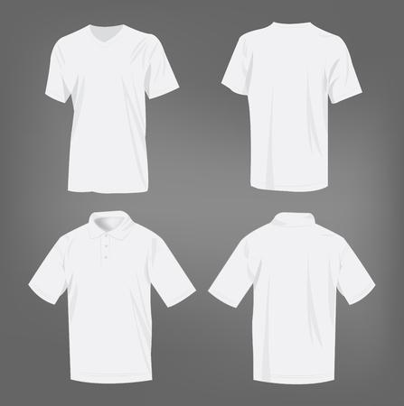 El deporte blanco de la camiseta y camisa de polo de vectores aislados conjunto
